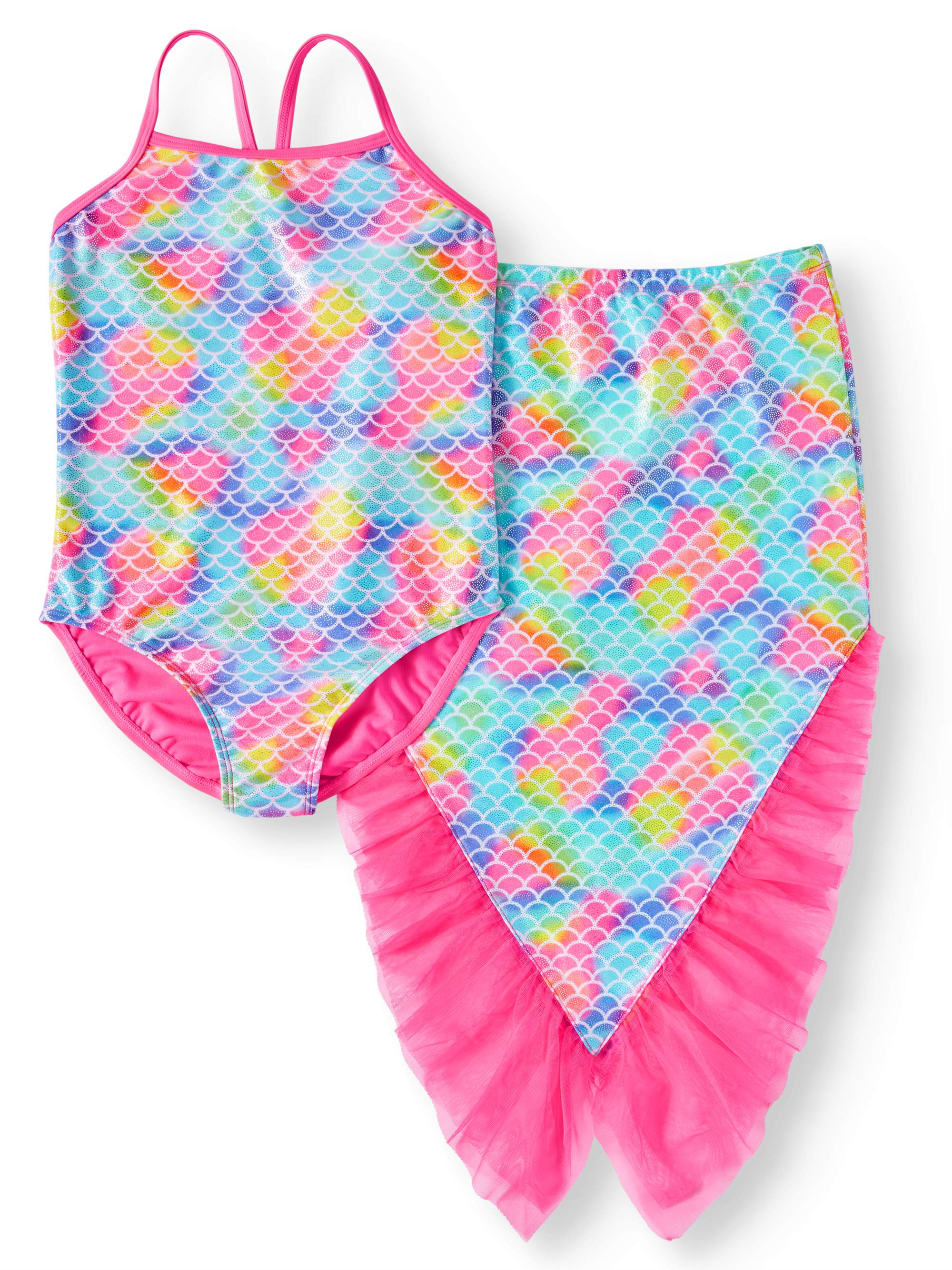 Mermaid One-Piece Swimsuit and Skirt Coverup, 2-Piece Set (Little Girls, Big Girls & Big Girls Plus)