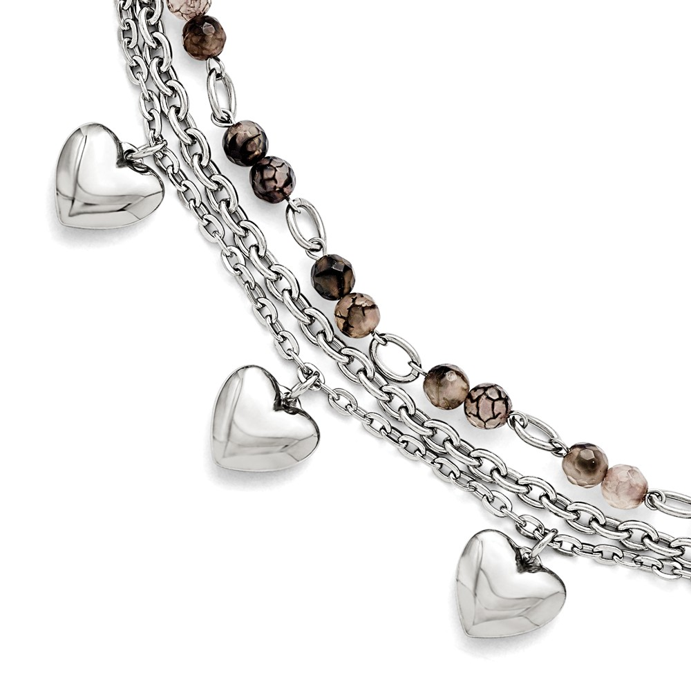 Stainless Steel 7.5in Black & White Agate with Hearts Bracelet