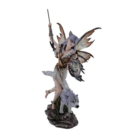 Snow Wolf Warrior Fairy Running With Spear And Shield Statue