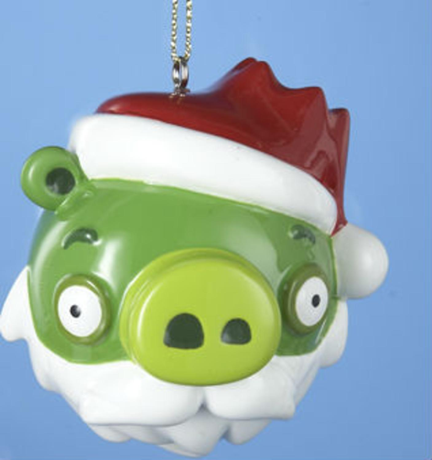 """2.5"""" Angry Birds Green King Pig with Santa Hat Christmas Ornament"""