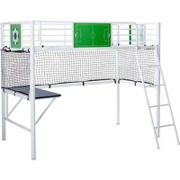 Benjara BM215679 Goal Keeper Metal Loft Bed with Attached Ladder & Side Desk - White