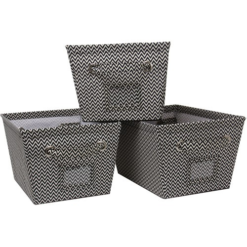 Mainstays Medium Canvas Bins 3 pk.-Chevron Print