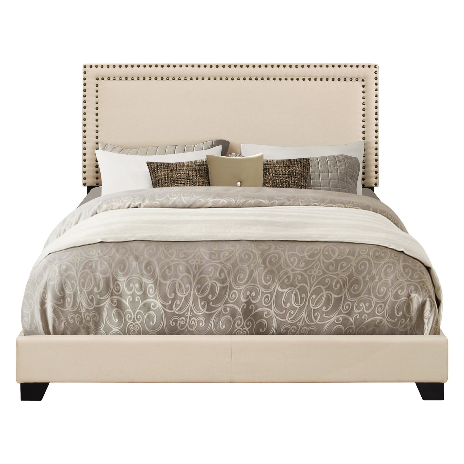 Right2Home Upholstered Platform Bed with Nailhead Trim