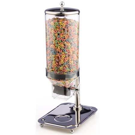 Cereal Dispenser with Clear Acrylic Cylinder, Portion Control Mechanism, Top Loading, with Bowl Tray, Round Stainless Steel (CRDSS01)