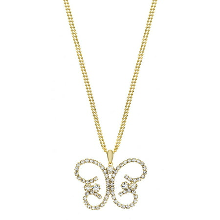 Butterfly Austrian Crystal - Handset Austrian Crystal 14kt Gold-Plated Butterfly Drop Necklace