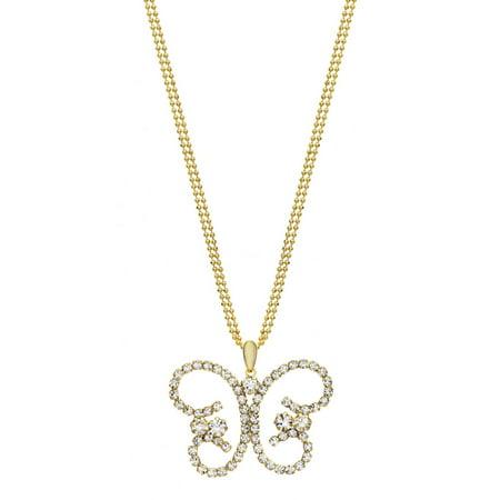 Austrian Crystal Butterfly Flower - Handset Austrian Crystal 14kt Gold-Plated Butterfly Drop Necklace