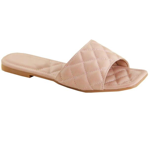 Womens Open Square Toe Flat Sandals,Womens Braided Flat Sandals Square Open Toe Slide.