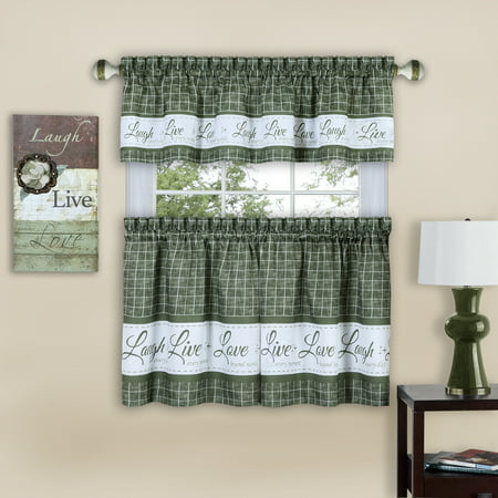 Gingham Check Live~Laugh~Love Complete 3 Pc. Kitchen Curtain Tier & Valance Set - Green, 24 in. Long