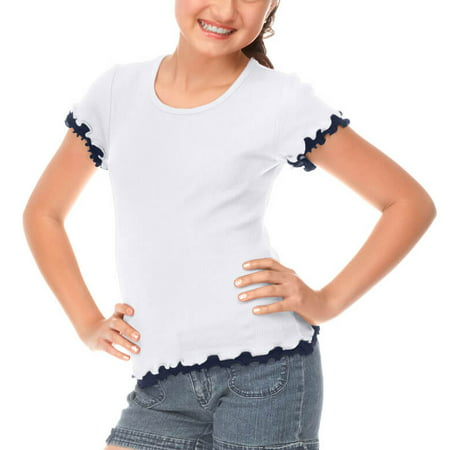 Kavio! Big Girls 7-16 Lettuce Edge Short Sleeve Top White/Navy XL](Hot Xl Girl)