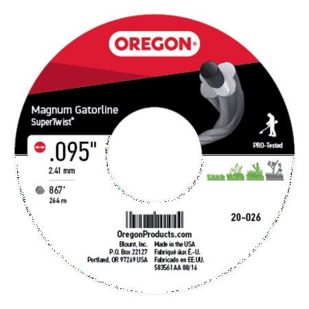 "Oregon Trimmer Line: Supertwist Magnum Gatorline - 3lb (.095"" gauge - 867"