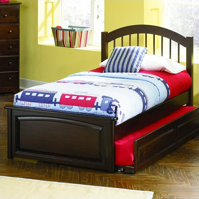 Atlantic Furniture Windsor Platform Bed with Raised Panel Footboard in Antique Walnut Finish-Twin by Atlantic Furniture