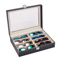 Leather Multi Sunglasses Organizer for Women Men Eyeglasses Eyewear Display Case Sunglass Glasses Storage Holder Box Sunglasses Collection Case with 8 Slots Black