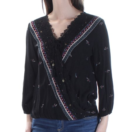 AMERICAN RAG Womens Black Embroidered Tie Floral 3/4 Sleeve V Neck Faux Wrap Top  Size: S 3/4 Sleeve Faux Wrap