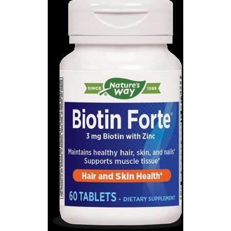 Natures Way Biotin Forte 3 mg with Zinc 60 Count