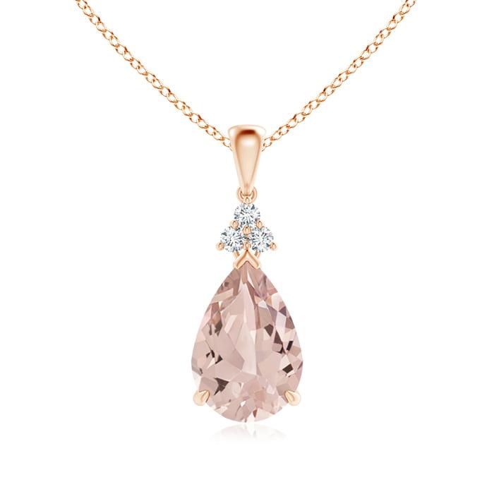 Angara Claw-Set Morganite Drop Pendant with Trio Diamonds IDayBLXteh