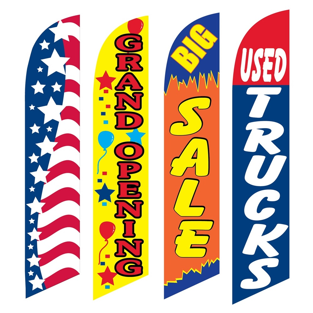 4 Advertising Swooper Flags Patriotic Grand Opening Big Sale Used Trucks