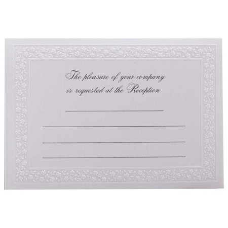 JAM Paper® Fill-In Reception Card Set -White Flowered Border - (White Reception Card)