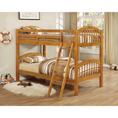 Beth Bunk Bed, Twin Over Twin, Honey Wood, Arched Headboard, Country Style, With Guard Rails & Step Ladder Bunk Bed Honey