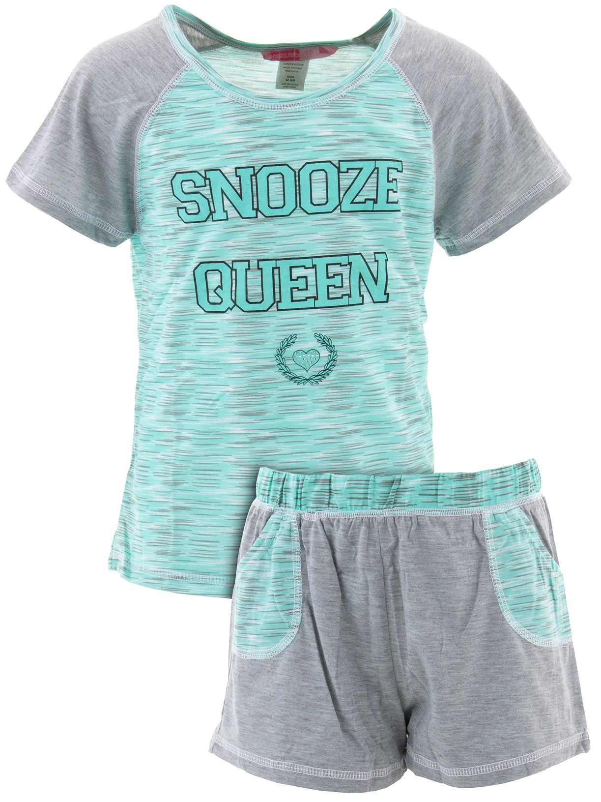 Katnap Kids Big Girls' Snooze Queen Mint Short Pajamas