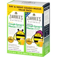 Zarbee's Naturals Children's Cough Syrup + Mucus Daytime & Nighttime, Grape, 4 fl oz (Pack of 2)