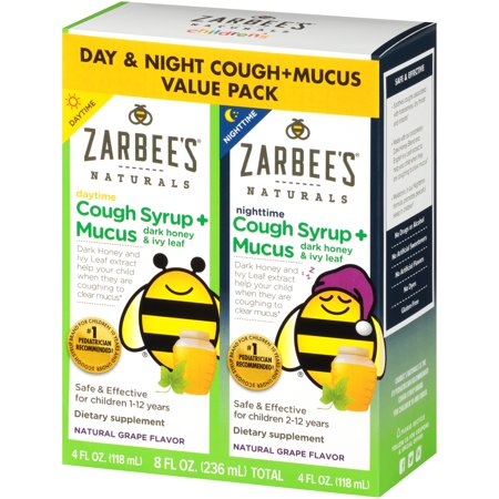 Zarbee's Naturals Children's Cough Syrup + Mucus with Dark Honey & Ivy Leaf Daytime & Nighttime , Natural Grape Flavor, 8 Fl. Ounces Total (Value Pack of