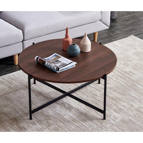 Lipobao Modern Round Coffee Table Black Color Frame With Walnut Top 36 Walmart Com Walmart Com