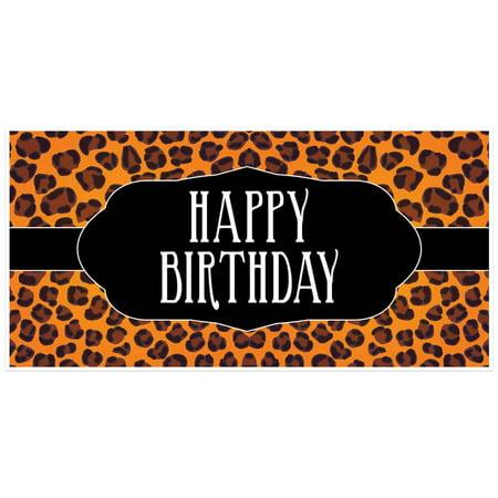 Orange Cheetah Print Birthday - Printed Banners