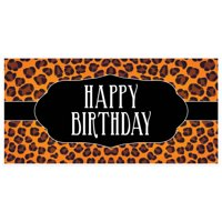 Orange Cheetah Print Birthday Banner