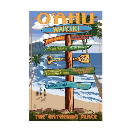 Waikiki, Oahu, Hawaii - Sign Destinations (with Nani Aloha Street) Print Wall Art By Lantern