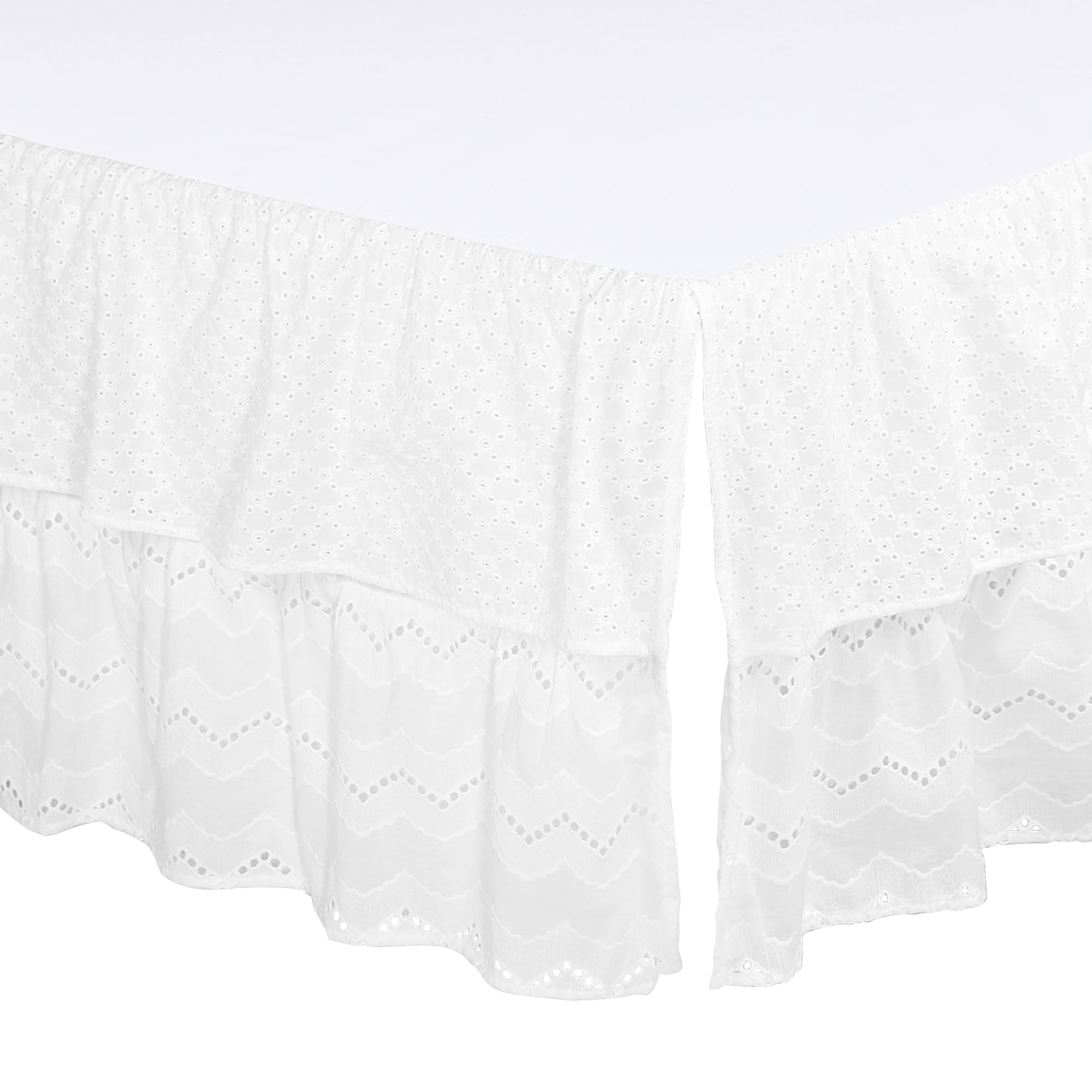 White Eyelet Two-Layered Crib Dust Ruffle by The Peanut Shell by The Peanut Shell
