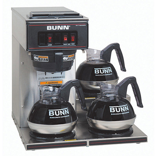 BUNN VP17-3, 12-Cup Commercial Coffee Brewer, 3 Lower Warmers, Stainless Steel, 13300.0003