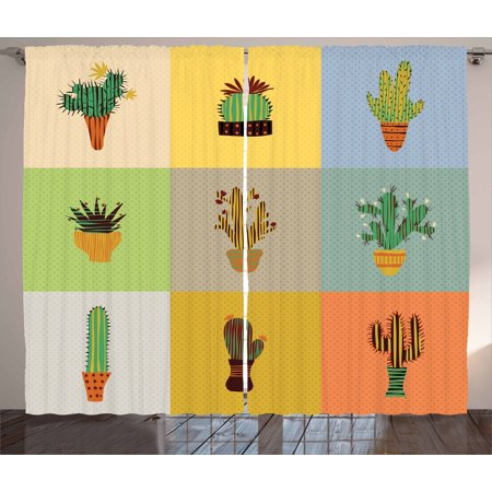 Vintage Curtains 2 Panels Set, Botanical Cactus Flowers in Vase Succulent Peyote Essence Tropical Polka Dots Motif, Window Drapes for Living Room Bedroom, 108W X 84L Inches, Multicolor, by Ambesonne