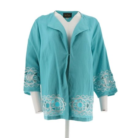 Bob Mackie Floral Embroidered Cut-Out Linen Jacket (Embroidered Spandex Vest)