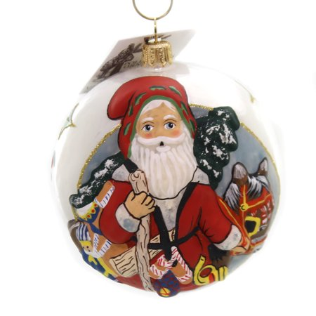 Donkey Christmas Ornaments.Vaillancourt Santa With Christmas Donkey Glass Jingle Balls Ornament Or17503
