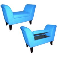 Ore International Storage Bench, Light Blue