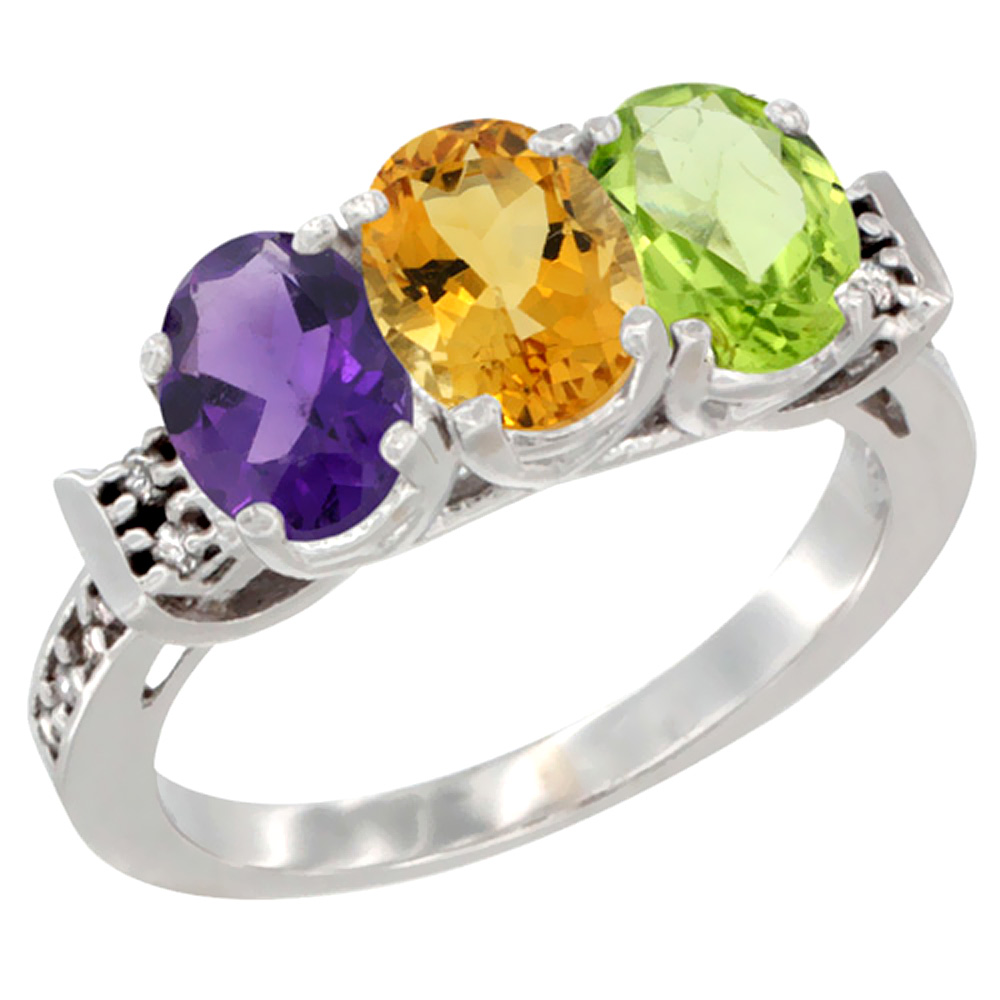 10K White Gold Natural Amethyst, Citrine & Peridot Ring 3-Stone Oval 7x5 mm Diamond Accent, sizes 5 10 by WorldJewels