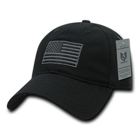 Relaxed Fit US American Flag Washed Cotton Baseball Cap Patch Polo Tonal (Checkered Flag Baseball Cap)