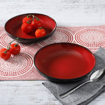 Gibson Home Soho Lounge Red 8.86-Inch Dinner Bowls, Set of 2 - Red Paper Bowls