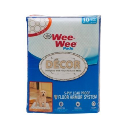 Four Paws Wee Wee Pads  Tile D Cor  10 Count