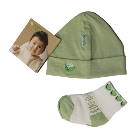 iPlay Green Sprouts Baby Layette 2 Piece Set, Hat & Socks, (Green, 0-3 Months)