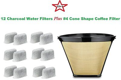 #4 Permanent Coffee Filter & 12 Water Filters for Cuisinart Coffeemakers by GoldTone