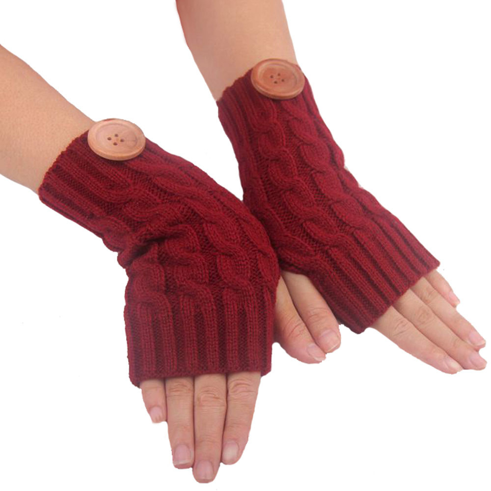 Women Hemp Flowers Fingerless Knitted Gloves