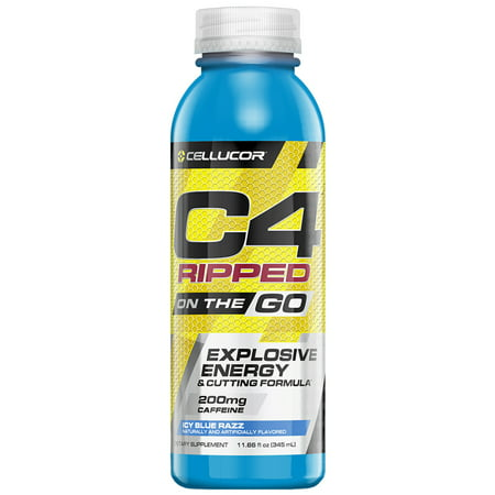Cellucor C4 Ripped On The Go Pre Workout Energy Drink, Icy Blue Razz, 11.66 Fl Oz, 12 (Best Anabolic Steroids To Get Ripped)