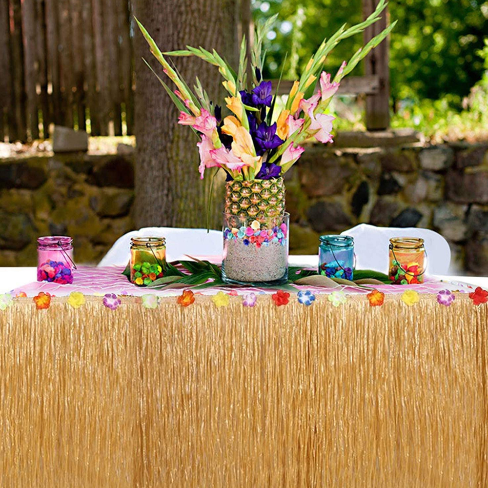 151Pcs Hawaiian Tropical Party Decorations Set Hawaiian with Table Skirt Palm Leaves Hibiscus Flowers Flamingo for Garden Beach Summer BBQ Party Wedding Decorations