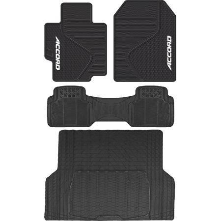 4 Piece ALL Weather Heavy Duty Rubber Front Floor Mats & Universal Black Rear Runner & Trunk Cargo Mat For Honda