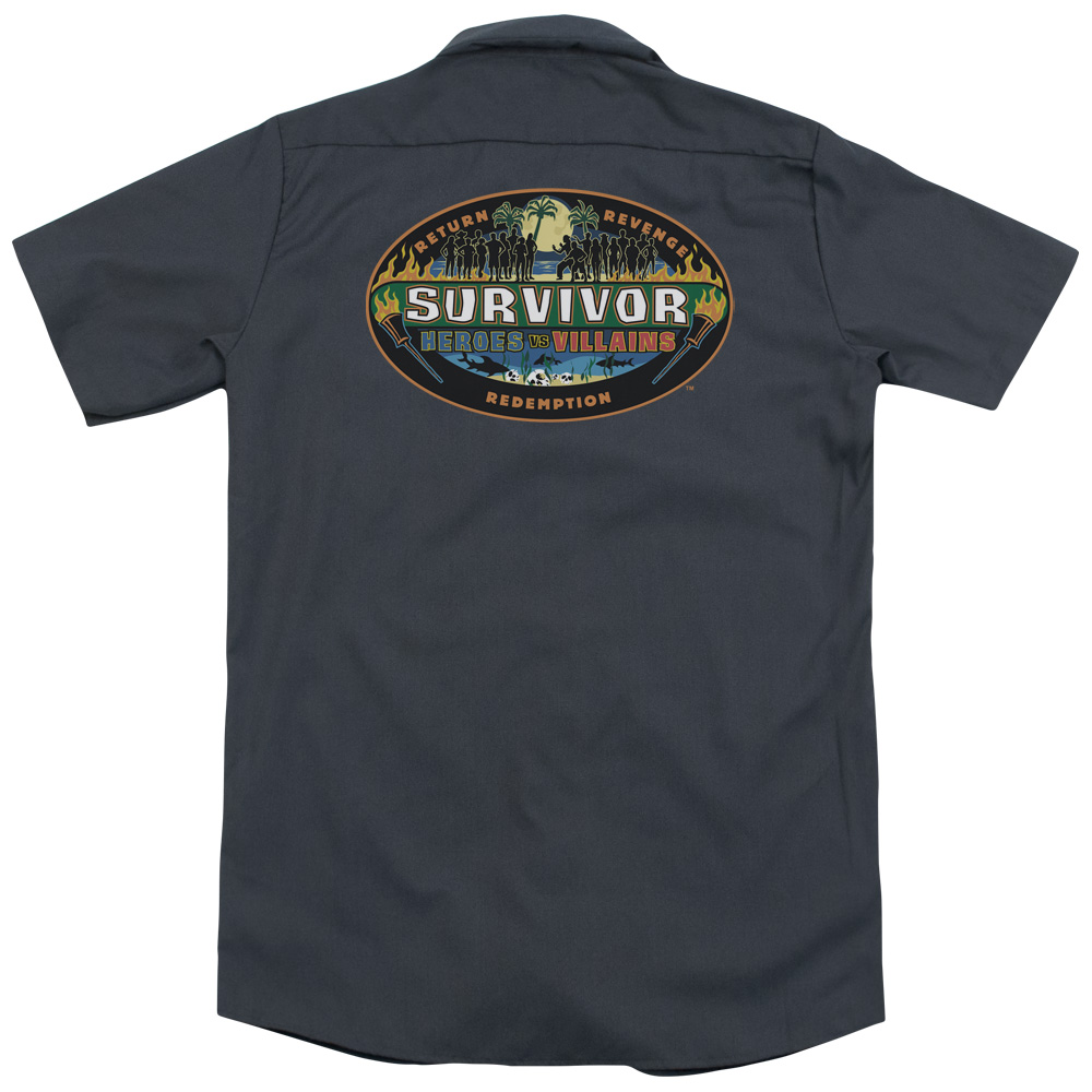 Survivor Heroes Vs Villains (Back Print) Mens Work Shirt