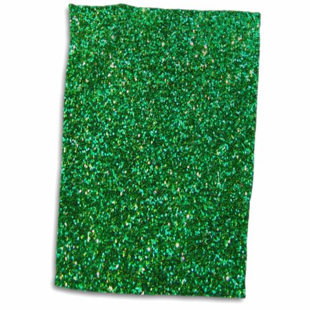 - 3dRose Emerald Green Faux Glitter - photo of glittery texture - Bling Sparkles Sparkly glam glamorous diva - Towel, 15 by 22-inch