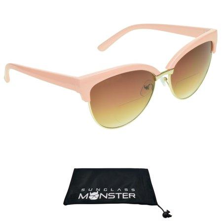 Sunglass Monster Women Bifocal Sunglasses with Cat Eye Half Horn Rim Pink (Sunglass Garage)