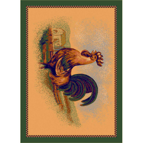 Milliken Fall Seasonal Tan Rise and Shine Rooster Area Rug