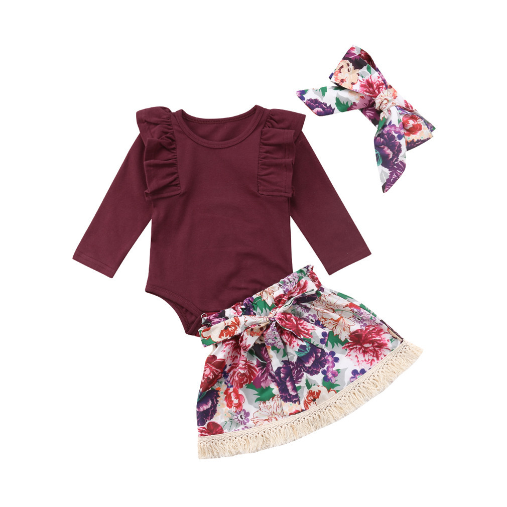 Floral Pants Clothes Sets Baby Girl Clothes Newborn Infant Outfits Long Sleeve Ruffle Romper
